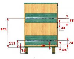 На картинке показана схема разметки и крепления направляющих